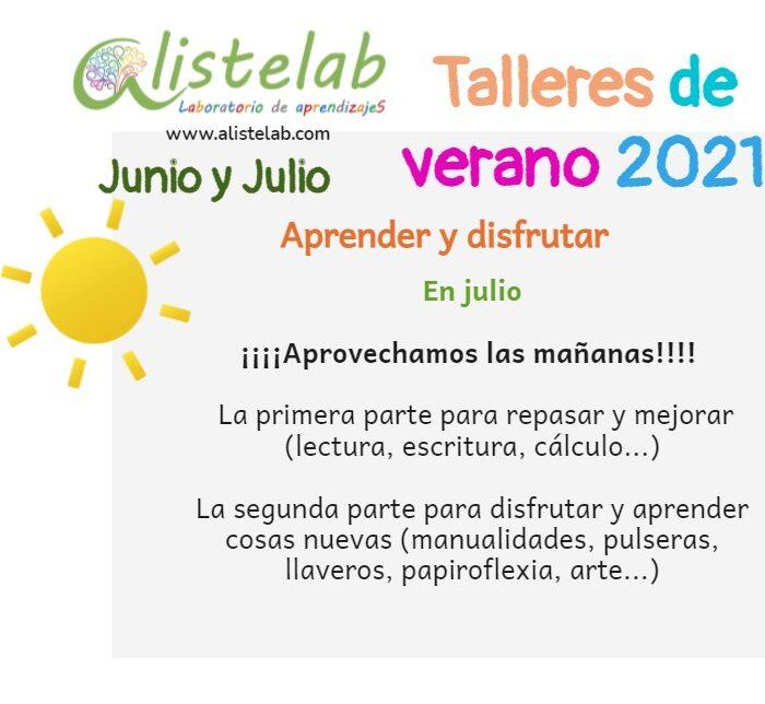 Talleres de verano en julio 2021 Alistelab