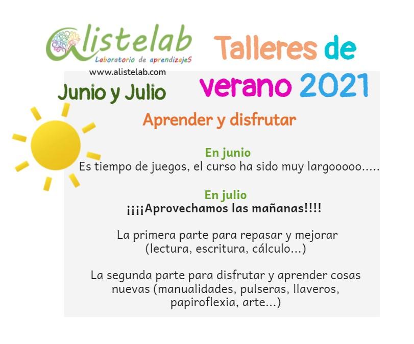 Talleres de verano en junio 2021 Alistelab